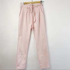 Zaful pink high rise pants with belt tie